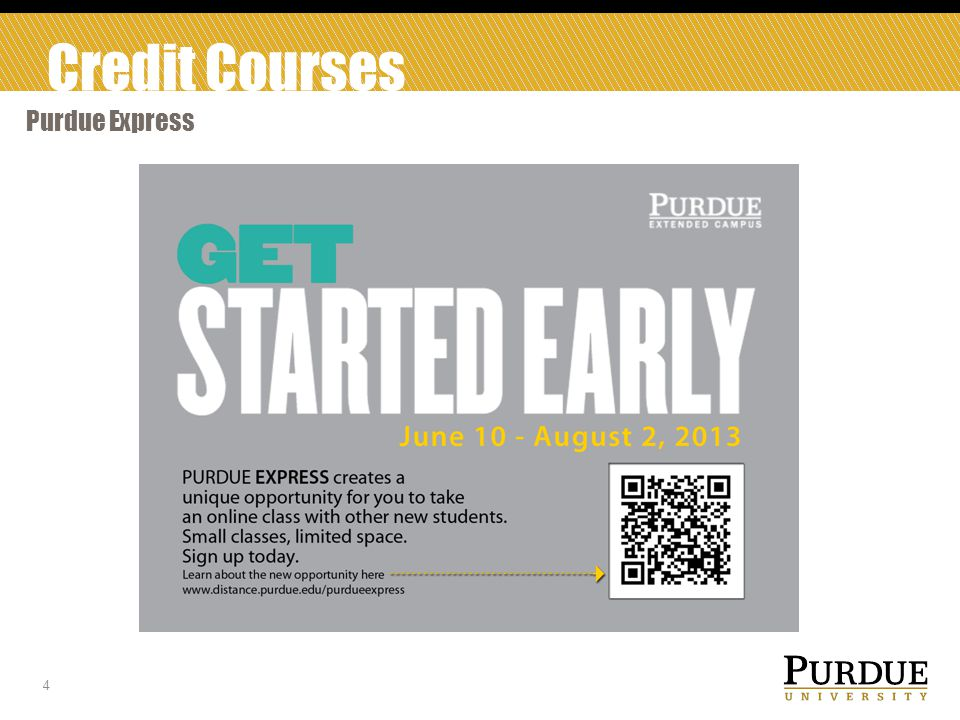 Credit Courses Purdue Express 5 CS 110 CS 177 ENGR 103i HIST 152 PSY 120 VM 10201 300 students will be accepted as non- degree for the summer to participated in the pilot.