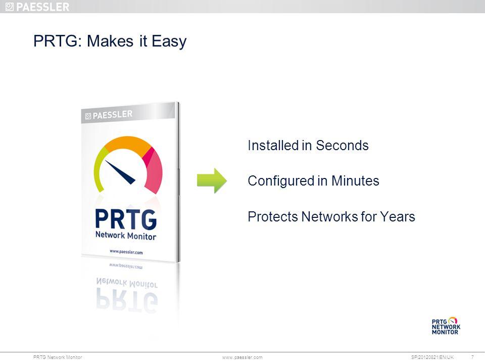 www.paessler.com PRTG Network Monitor www.paessler.com SP|20120821|EN|UK PRTG: Makes it Easy Installed in Seconds Configured in Minutes Protects Networks for Years 7