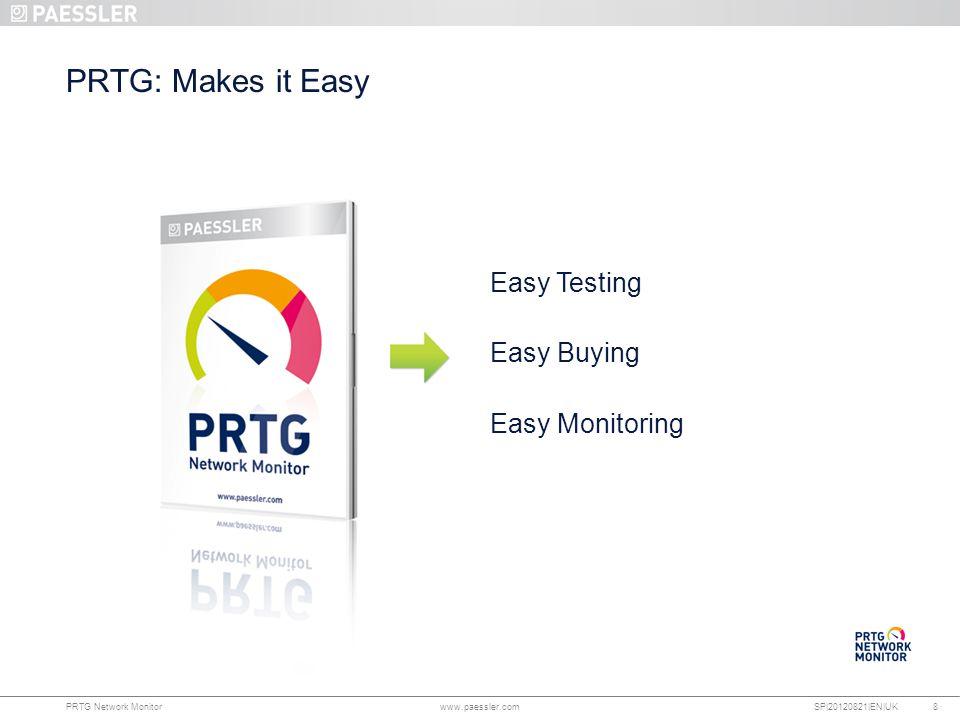 www.paessler.com PRTG Network Monitor www.paessler.com SP|20120821|EN|UK PRTG: Makes it Easy 8 Easy Testing Easy Buying Easy Monitoring