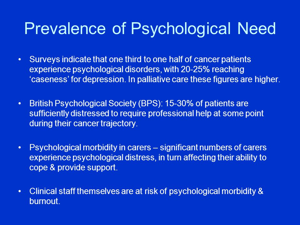 Liverpool Psychology Service for Cancer - cont'd Undertaking clinically relevant research, in collaboration with Division of Clinical Psychology, that leads to service improvement and innovation: Current research interests include: –Communication –Decision making –Psychological distress: patients' & health professionals' perspectives –Provision of high quality information re psychological care, coping and living with cancer.