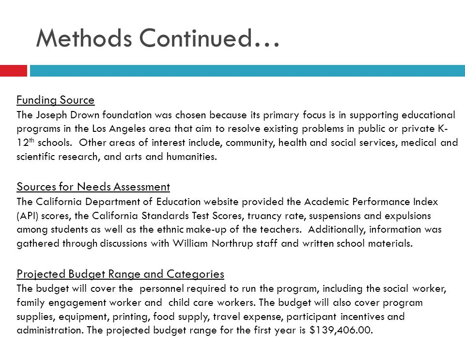 Grant Proposal Program Summary and Description The purpose of the family involvement program is to improve children's academic achievement, increase family participation, and improve parent-teacher relationships.