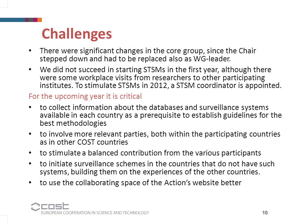 10 Challenges There were significant changes in the core group, since the Chair stepped down and had to be replaced also as WG-leader.