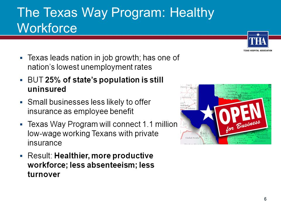The Texas Way Program: Healthy Workforce  Texas leads nation in job growth; has one of nation's lowest unemployment rates  BUT 25% of state's popula