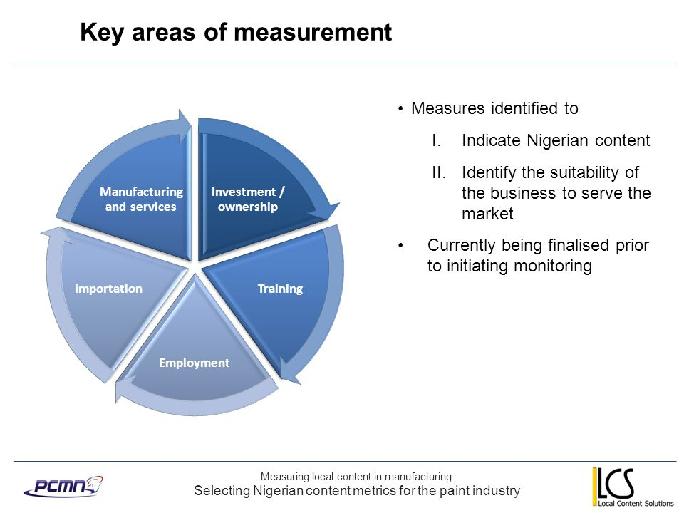 Key areas of measurement Measuring local content in manufacturing: Selecting Nigerian content metrics for the paint industry Investment / ownership Tr