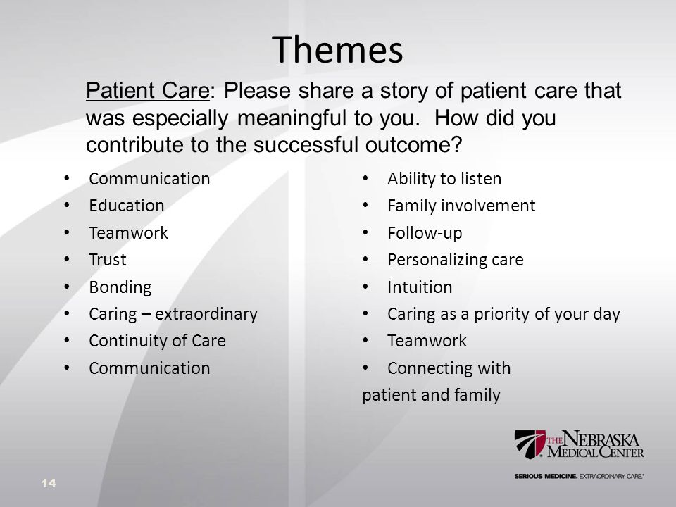 Themes Communication Education Teamwork Trust Bonding Caring – extraordinary Continuity of Care Communication Ability to listen Family involvement Follow-up Personalizing care Intuition Caring as a priority of your day Teamwork Connecting with patient and family 14 Patient Care: Please share a story of patient care that was especially meaningful to you.
