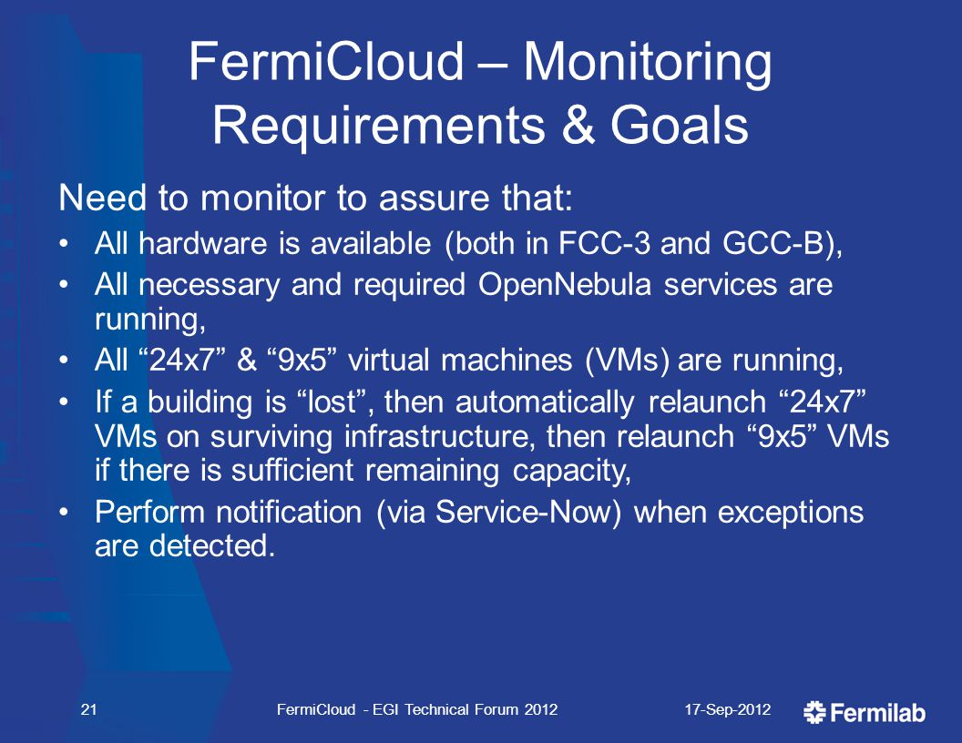 FermiCloud – Monitoring Requirements & Goals Need to monitor to assure that: All hardware is available (both in FCC-3 and GCC-B), All necessary and required OpenNebula services are running, All 24x7 & 9x5 virtual machines (VMs) are running, If a building is lost , then automatically relaunch 24x7 VMs on surviving infrastructure, then relaunch 9x5 VMs if there is sufficient remaining capacity, Perform notification (via Service-Now) when exceptions are detected.
