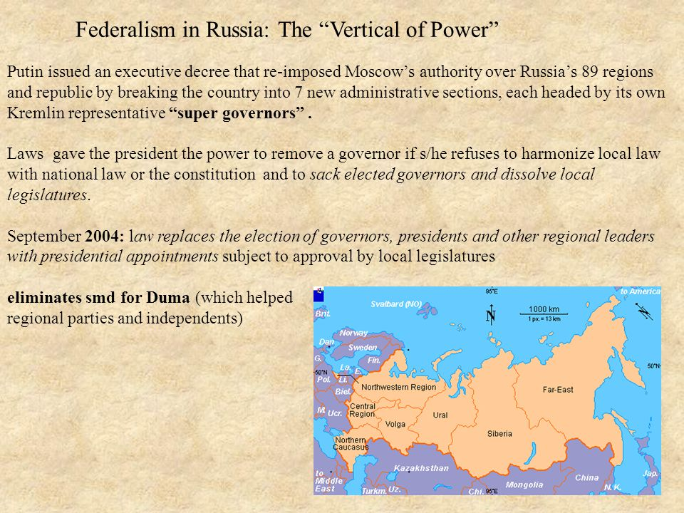 Federalism in Russia: The Vertical of Power Putin issued an executive decree that re-imposed Moscow's authority over Russia's 89 regions and republic by breaking the country into 7 new administrative sections, each headed by its own Kremlin representative super governors .
