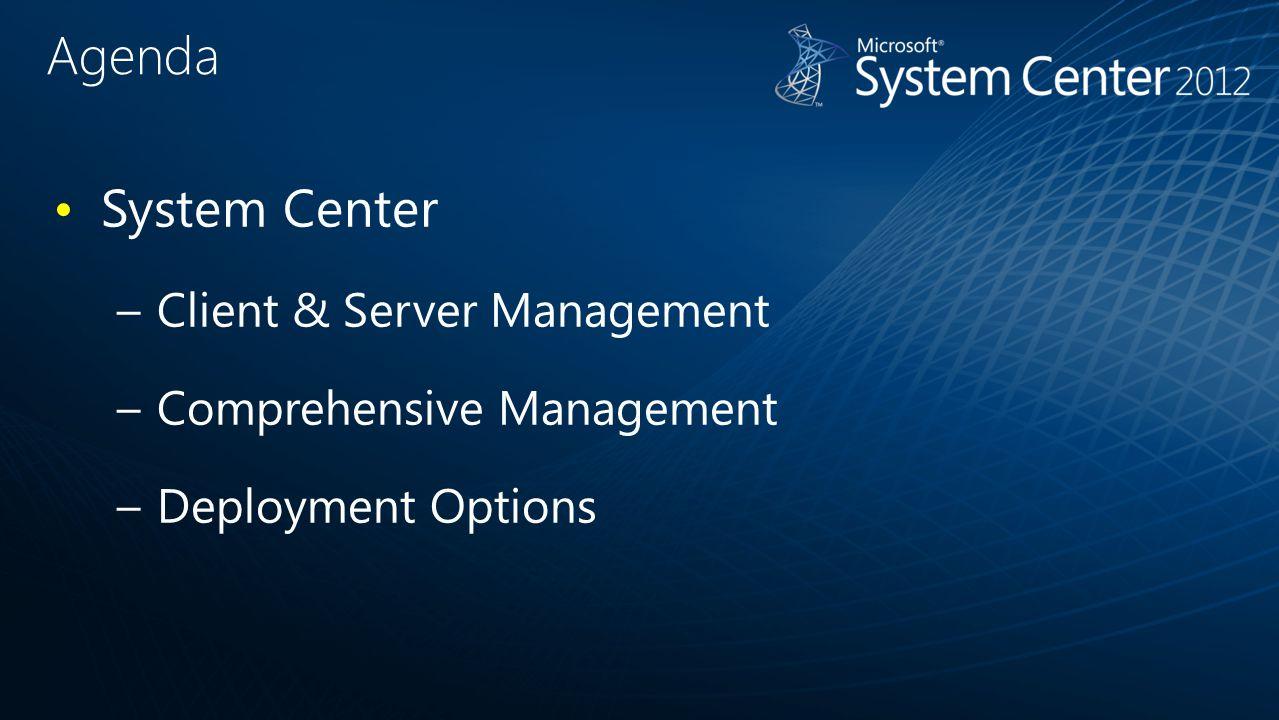 Agenda System Center –Client & Server Management –Comprehensive Management –Deployment Options