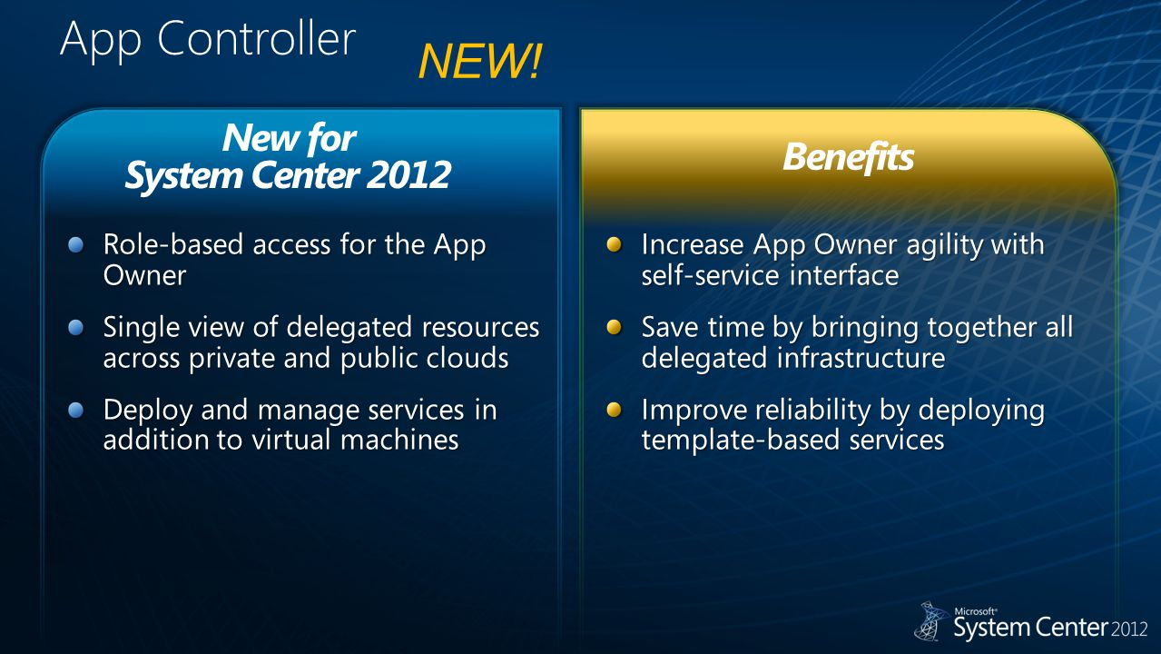 App Controller Increase App Owner agility with self-service interface Save time by bringing together all delegated infrastructure Improve reliability by deploying template-based services Role-based access for the App Owner Single view of delegated resources across private and public clouds Deploy and manage services in addition to virtual machines New for System Center 2012 Benefits NEW!