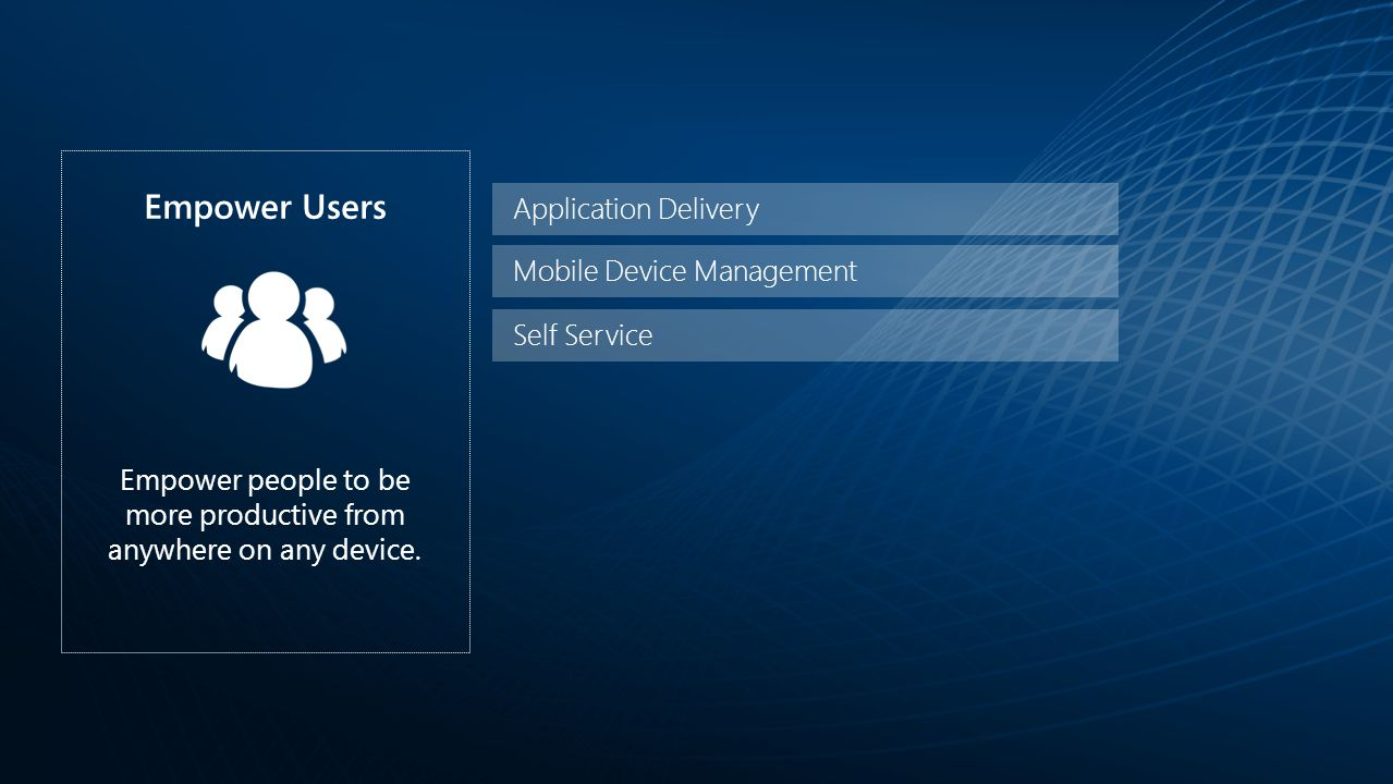 Application Delivery Mobile Device Management Empower Users Empower people to be more productive from anywhere on any device.