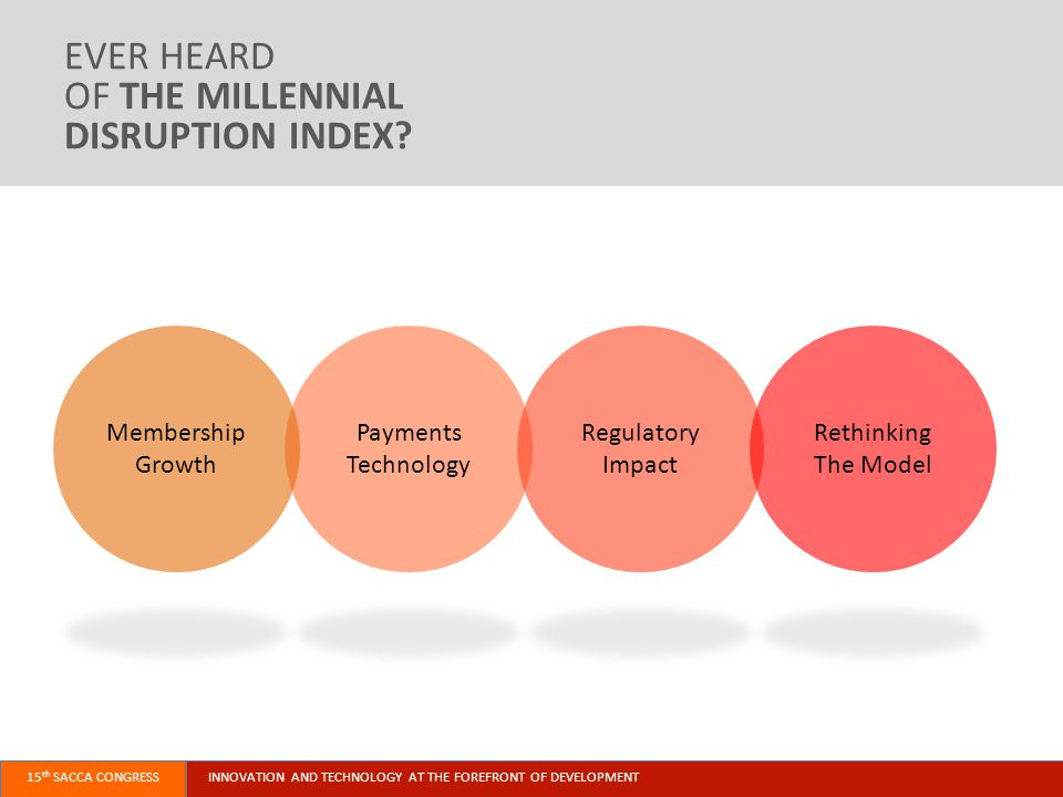 INNOVATION AND TECHNOLOGY AT THE FOREFRONT OF DEVELOPMENT15 th SACCA CONGRESS Payments Technology Regulatory Impact Rethinking The Model EVER HEARD OF THE MILLENNIAL DISRUPTION INDEX.
