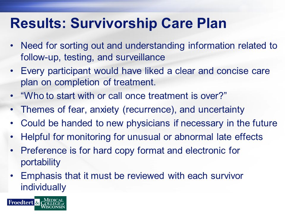Results: Survivorship Care Plan Need for sorting out and understanding information related to follow-up, testing, and surveillance Every participant w