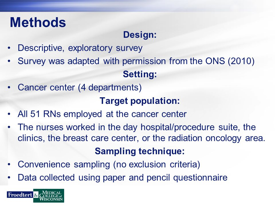 Methods Design: Descriptive, exploratory survey Survey was adapted with permission from the ONS (2010) Setting: Cancer center (4 departments) Target p