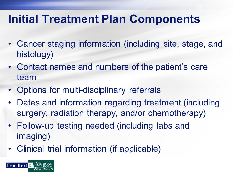 Survivorship Care Plan Components Cancer staging information (including site, stage, and histology) Contact names and numbers of the patient's care team Multi-disciplinary referrals utilized Chemotherapy drugs (route, how tolerated, start/end dates) Radiation therapy (how tolerated, start/end dates, site) Surgery (date, type of procedure(s)) Follow-up testing needed (including labs and imaging) Clinical trial information (if applicable) Potential late effects of treatment