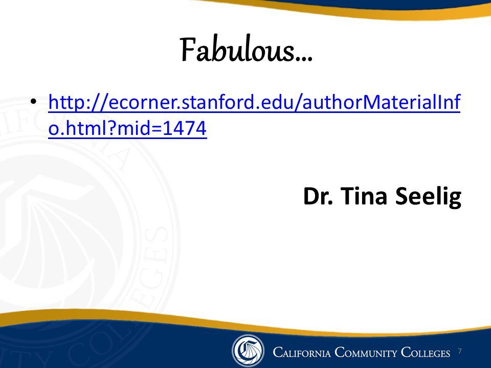 Fabulous… http://ecorner.stanford.edu/authorMaterialInf o.html?mid=1474 http://ecorner.stanford.edu/authorMaterialInf o.html?mid=1474 Dr.
