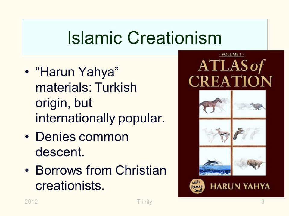 "2012Trinity3 Islamic Creationism ""Harun Yahya"" materials: Turkish origin, but internationally popular. Denies common descent. Borrows from Christian c"