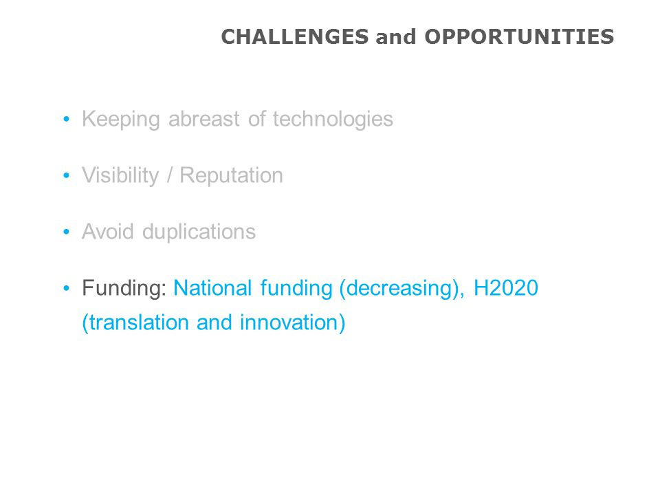 CHALLENGES and OPPORTUNITIES Keeping abreast of technologies Visibility / Reputation Avoid duplications Funding: National funding (decreasing), H2020 (translation and innovation)