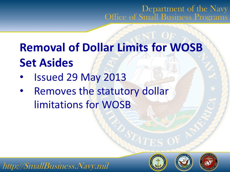 Removal of Dollar Limits for WOSB Set Asides Issued 29 May 2013 Removes the statutory dollar limitations for WOSB