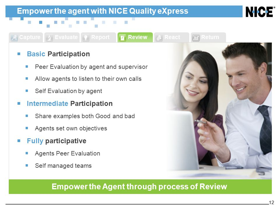 ReportReviewReactReturnCaptureEvaluate Empower the agent with NICE Quality eXpress  Basic Participation  Peer Evaluation by agent and supervisor  Allow agents to listen to their own calls  Self Evaluation by agent  Intermediate Participation  Share examples both Good and bad  Agents set own objectives  Fully participative  Agents Peer Evaluation  Self managed teams Empower the Agent through process of Review 12