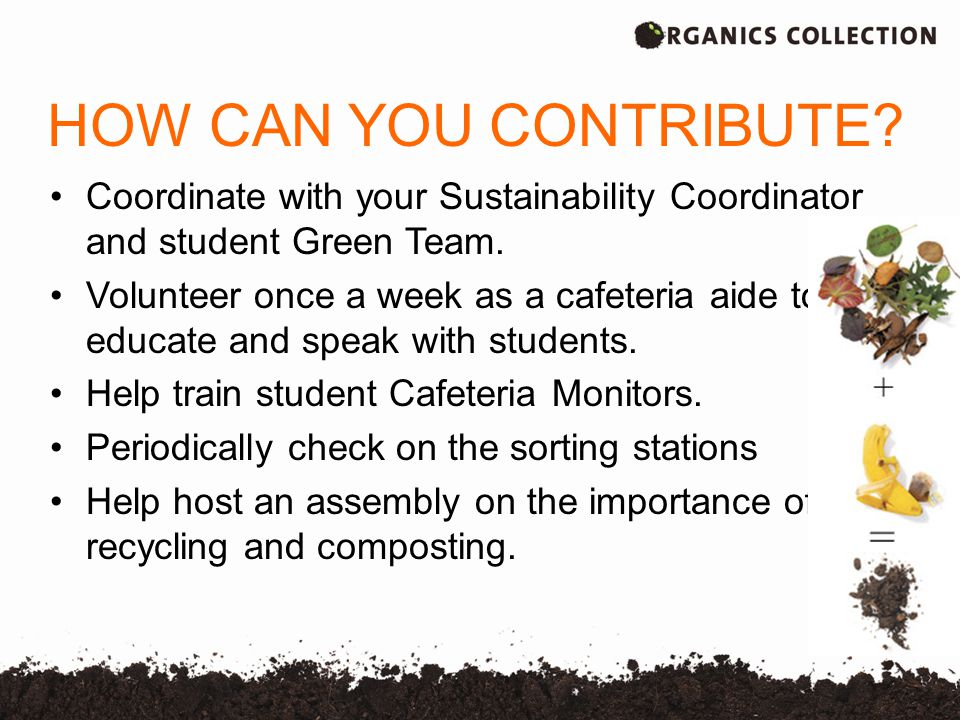HOW CAN YOU CONTRIBUTE.Coordinate with your Sustainability Coordinator and student Green Team.