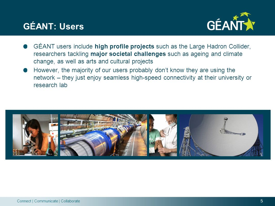 5 Connect | Communicate | Collaborate GÉANT: Users GÉANT users include high profile projects such as the Large Hadron Collider, researchers tackling major societal challenges such as ageing and climate change, as well as arts and cultural projects However, the majority of our users probably don't know they are using the network – they just enjoy seamless high-speed connectivity at their university or research lab