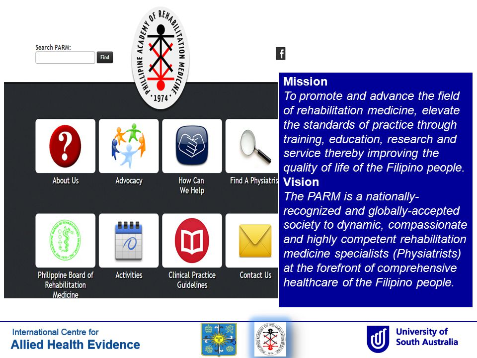 5 Mission To promote and advance the field of rehabilitation medicine, elevate the standards of practice through training, education, research and ser