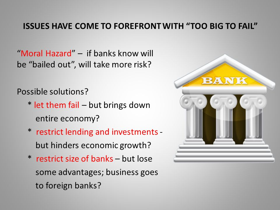 ISSUES HAVE COME TO FOREFRONT WITH TOO BIG TO FAIL Moral Hazard – if banks know will be bailed out , will take more risk.