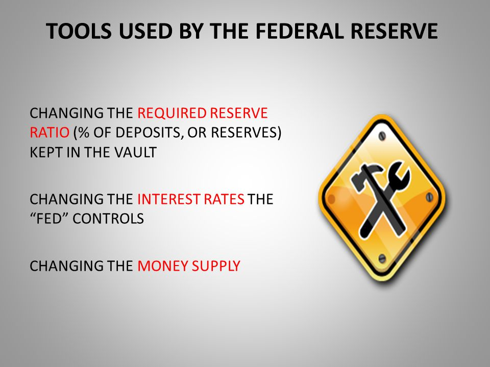 TO FIGHT A RECESSION, THE FED WOULD: LOWER THE REQUIRED RESERVE RATIO – GIVES BANKS MORE RESERVES TO LOAN LOWER THE FED'S TWO INTEREST RATES IT CONTROLS * borrowing from the Fed * interbank lending BOTH MOVES DESIGNED TO STIMULATE BORROWING AND SPENDING