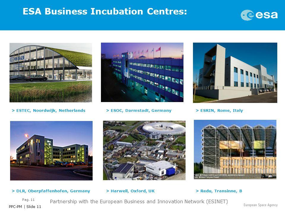 PPC-PM | Slide 11 Pag. 11 ESA Business Incubation Centres: > ESTEC, Noordwijk, Netherlands> ESRIN, Rome, Italy> ESOC, Darmstadt, Germany > DLR, Oberpf