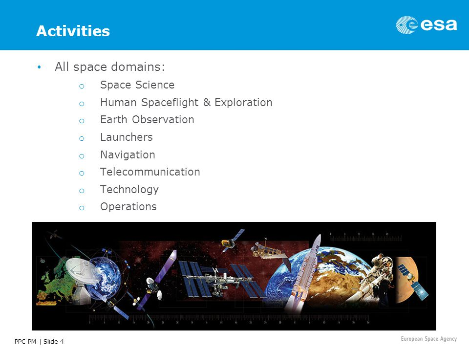 PPC-PM | Slide 4 Activities All space domains: o Space Science o Human Spaceflight & Exploration o Earth Observation o Launchers o Navigation o Telecommunication o Technology o Operations