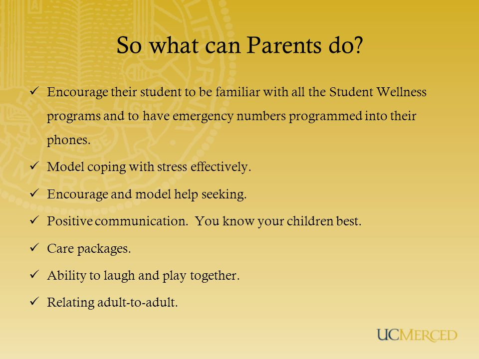 So what can Parents do.
