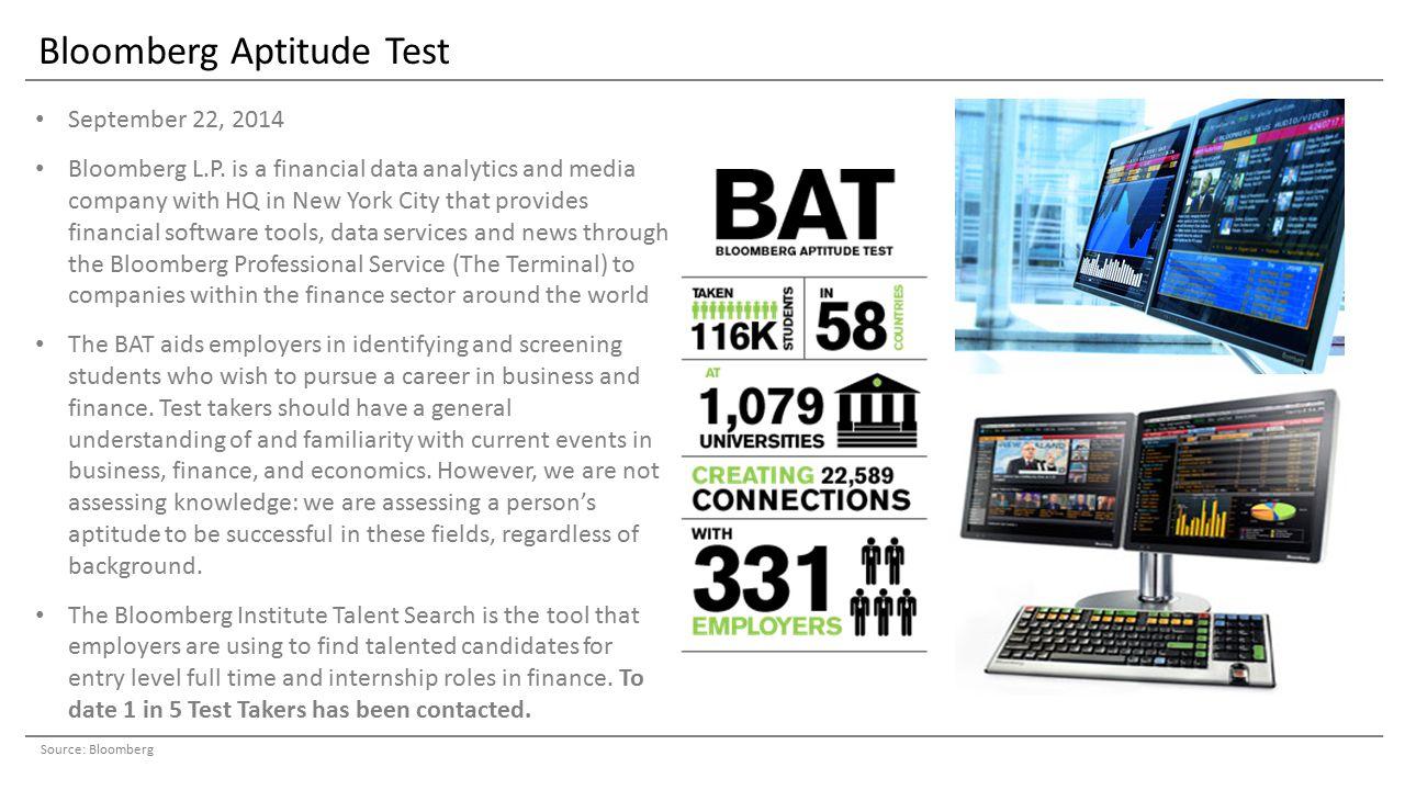Bloomberg Aptitude Test September 22, 2014 Bloomberg L.P.
