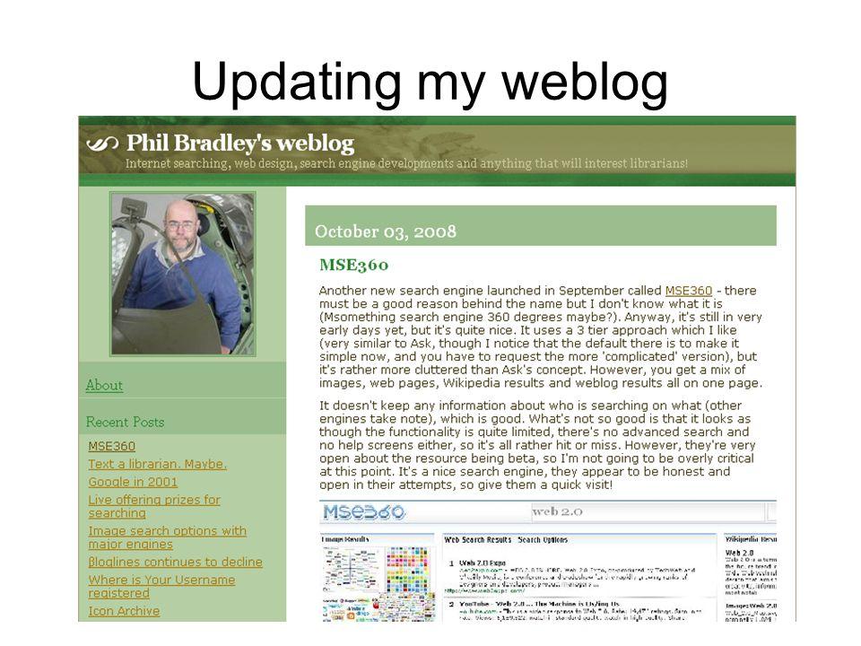 Updating my weblog