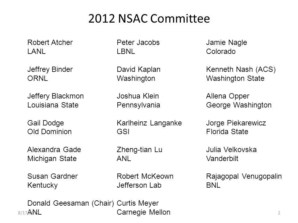 2012 NSAC Committee Robert AtcherPeter JacobsJamie Nagle LANLLBNLColorado Jeffrey BinderDavid KaplanKenneth Nash (ACS) ORNLWashingtonWashington State