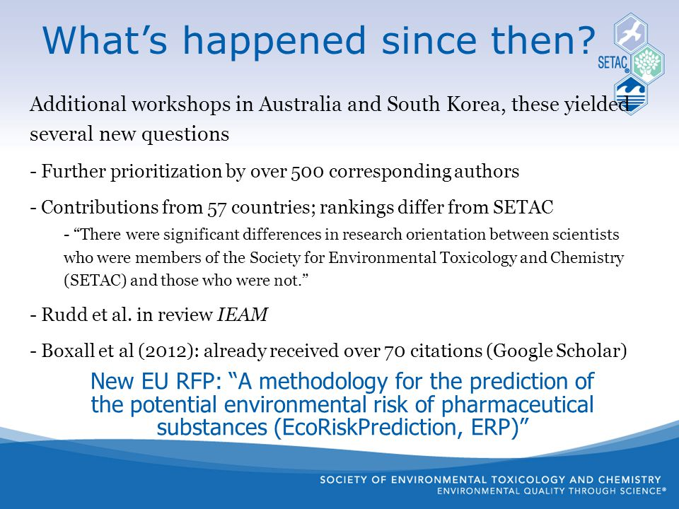 New EU RFP: A methodology for the prediction of the potential environmental risk of pharmaceutical substances (EcoRiskPrediction, ERP) What's happened since then.