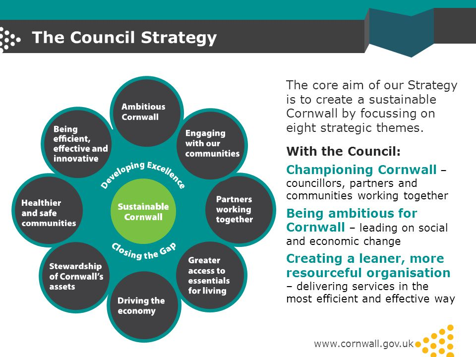 The Council Strategy www.cornwall.gov.uk With the Council: Championing Cornwall – councillors, partners and communities working together Being ambitio