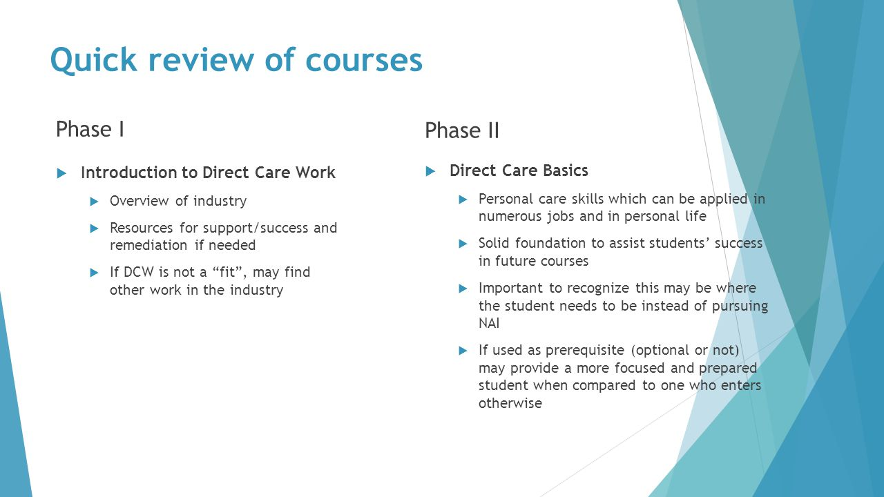 Quick review of courses Phase I  Introduction to Direct Care Work  Overview of industry  Resources for support/success and remediation if needed  If DCW is not a fit , may find other work in the industry Phase II  Direct Care Basics  Personal care skills which can be applied in numerous jobs and in personal life  Solid foundation to assist students' success in future courses  Important to recognize this may be where the student needs to be instead of pursuing NAI  If used as prerequisite (optional or not) may provide a more focused and prepared student when compared to one who enters otherwise