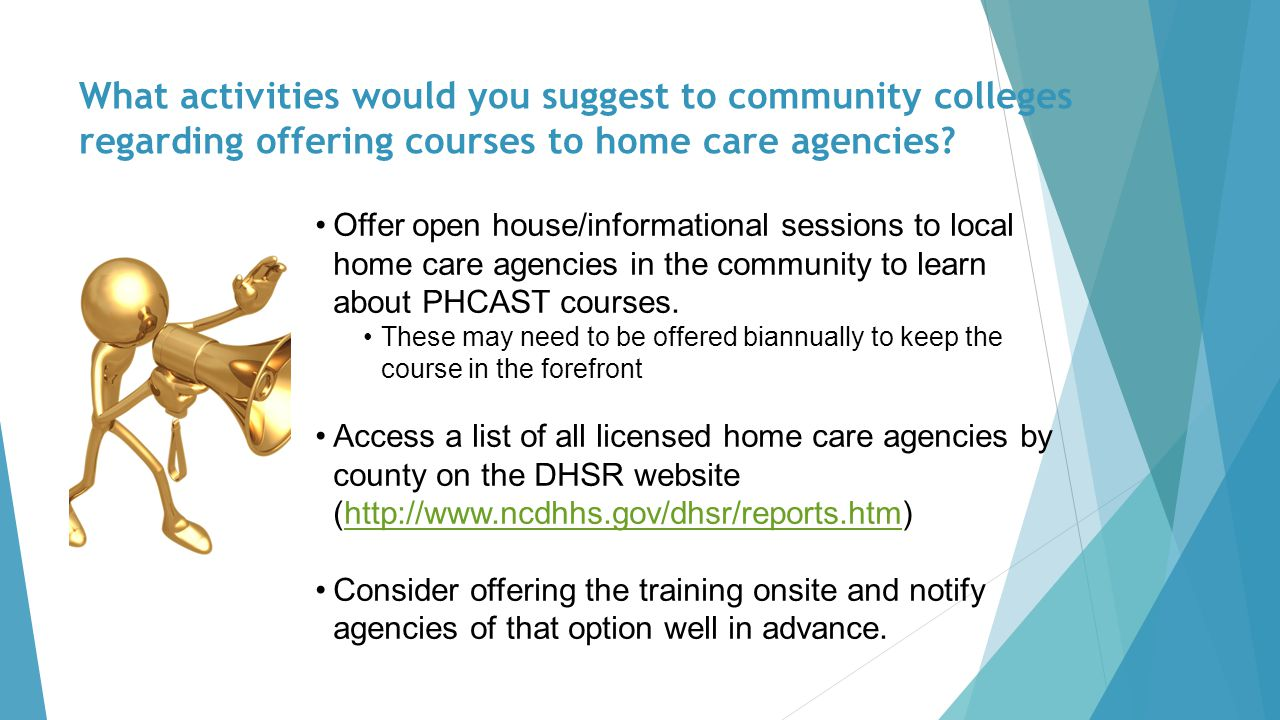 What activities would you suggest to community colleges regarding offering courses to home care agencies.