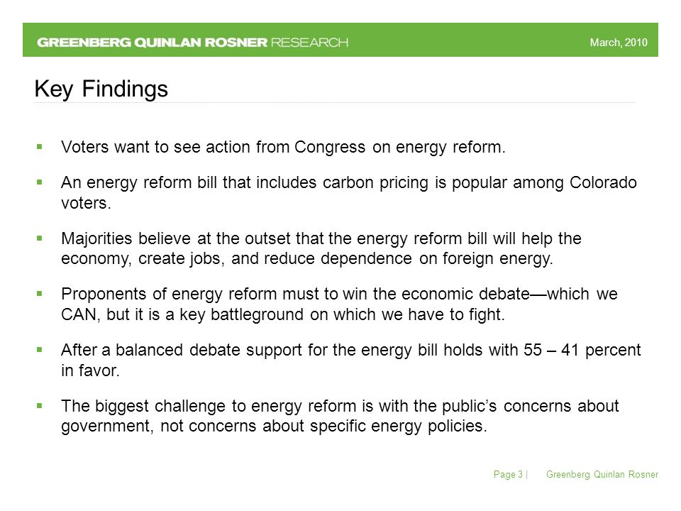 March, 2010 Greenberg Quinlan Rosner Page 3 | Key Findings  Voters want to see action from Congress on energy reform.