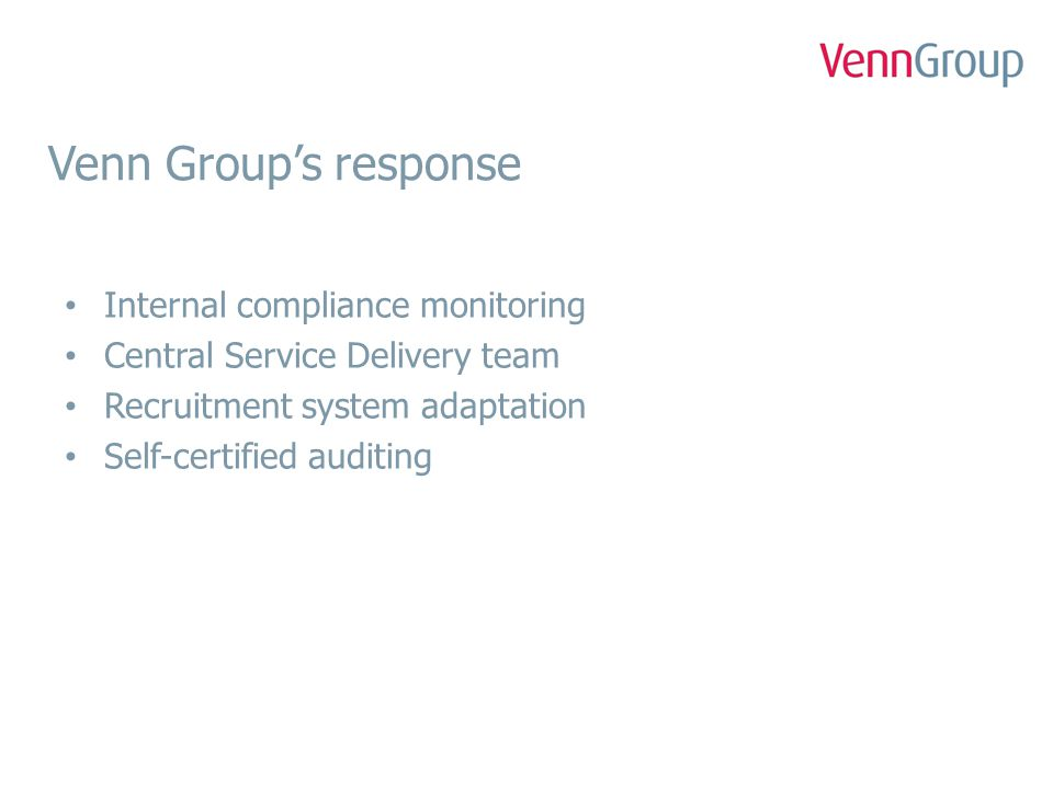 Venn Group's response Internal compliance monitoring Central Service Delivery team Recruitment system adaptation Self-certified auditing