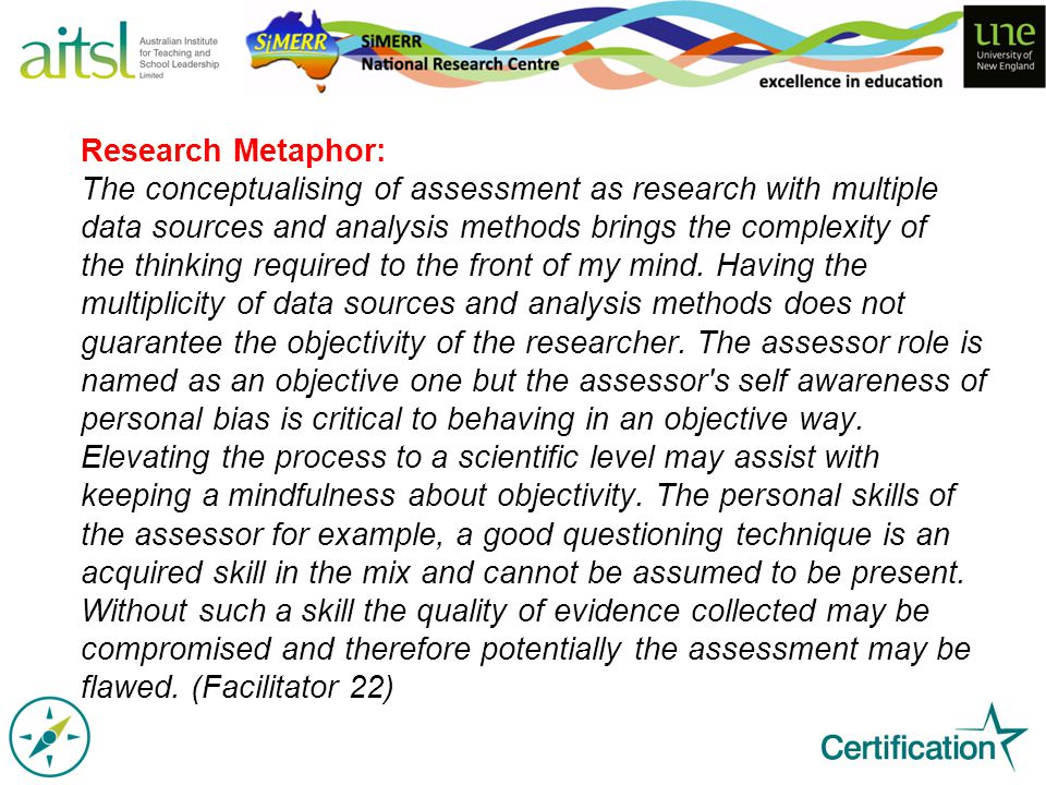 Research Metaphor: The conceptualising of assessment as research with multiple data sources and analysis methods brings the complexity of the thinking required to the front of my mind.