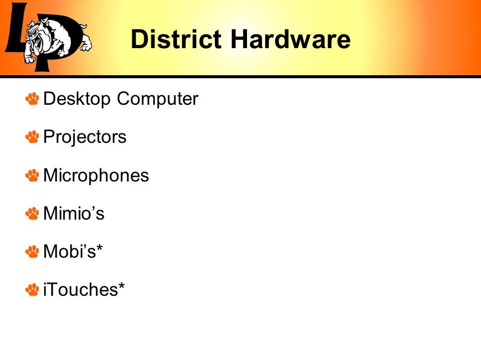 District Hardware Desktop Computer Projectors Microphones Mimio's Mobi's* iTouches*