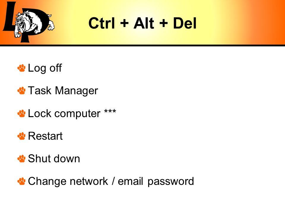 Ctrl + Alt + Del Log off Task Manager Lock computer *** Restart Shut down Change network / email password