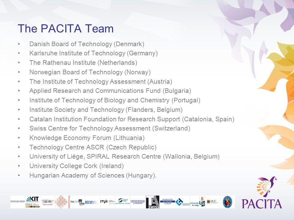 The PACITA Team Danish Board of Technology (Denmark) Karlsruhe Institute of Technology (Germany) The Rathenau Institute (Netherlands) Norwegian Board