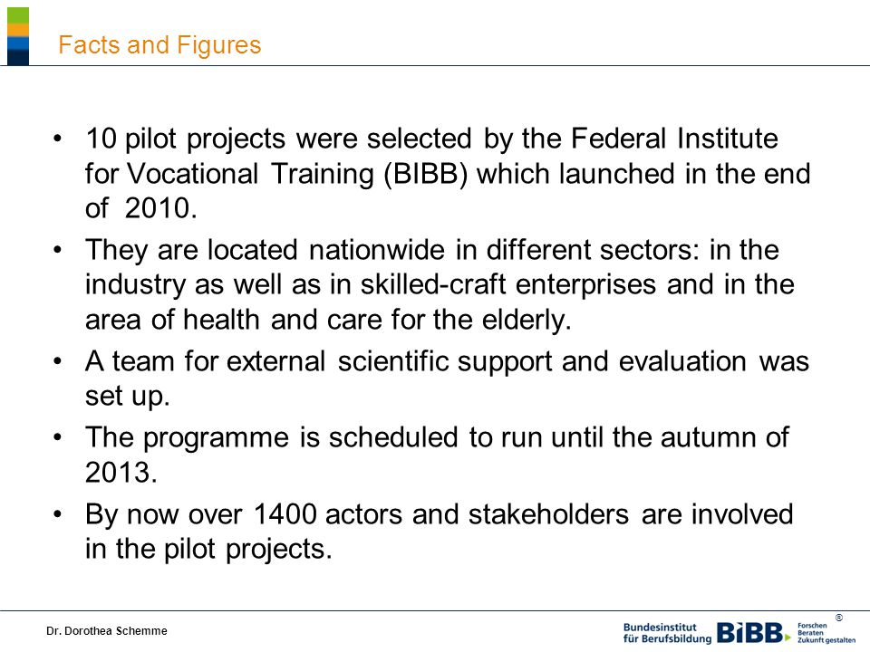 ® 10 pilot projects were selected by the Federal Institute for Vocational Training (BIBB) which launched in the end of 2010.
