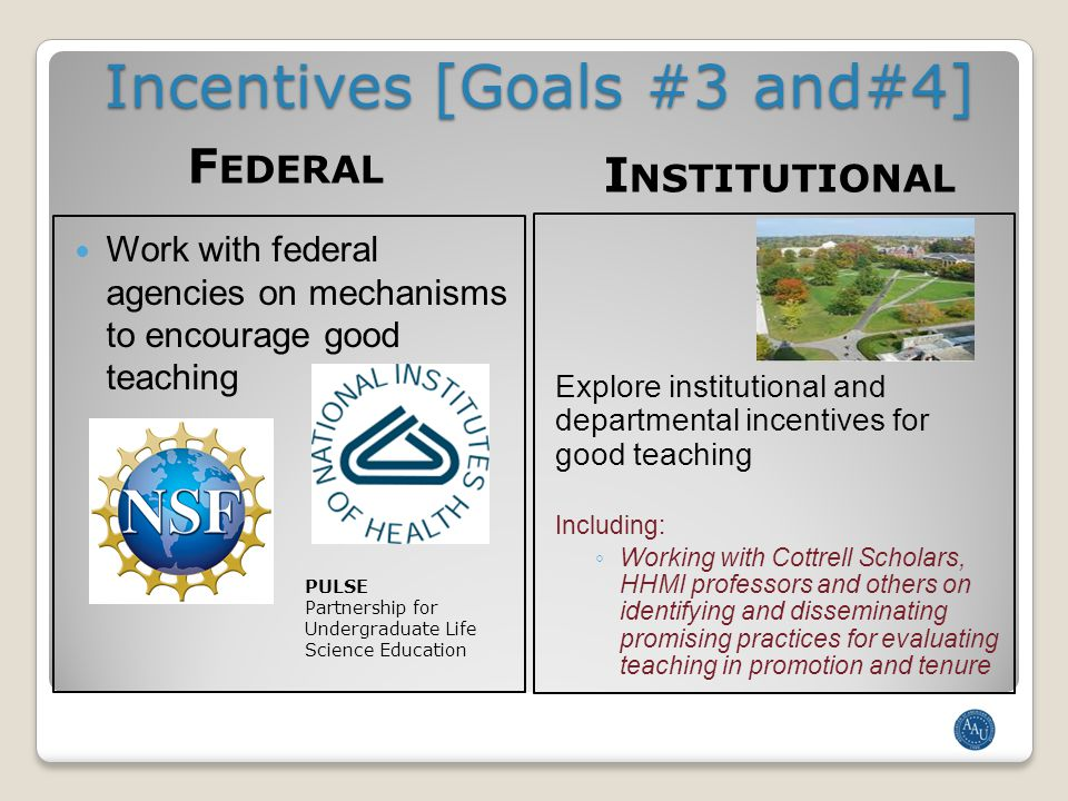 Incentives [Goals #3 and#4] F EDERAL I NSTITUTIONAL Work with federal agencies on mechanisms to encourage good teaching Explore institutional and departmental incentives for good teaching Including: ◦ Working with Cottrell Scholars, HHMI professors and others on identifying and disseminating promising practices for evaluating teaching in promotion and tenure PULSE Partnership for Undergraduate Life Science Education