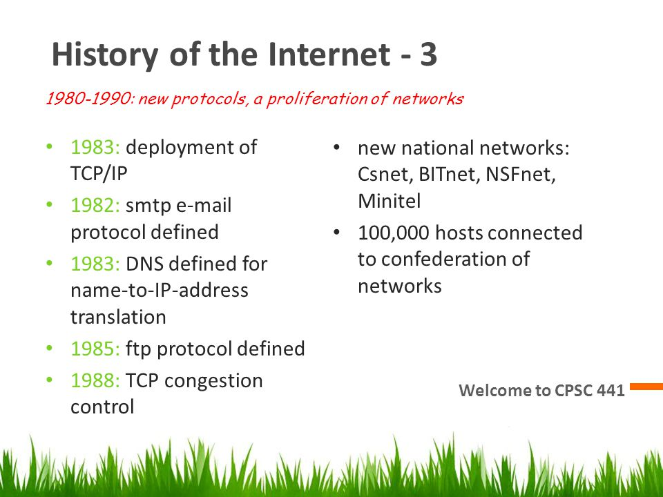 History of the Internet - 3 Welcome to CPSC 441 1983: deployment of TCP/IP 1982: smtp e-mail protocol defined 1983: DNS defined for name-to-IP-address translation 1985: ftp protocol defined 1988: TCP congestion control new national networks: Csnet, BITnet, NSFnet, Minitel 100,000 hosts connected to confederation of networks 1980-1990: new protocols, a proliferation of networks