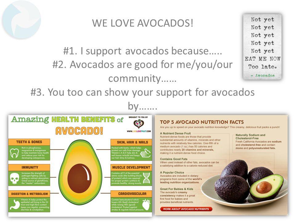 WE LOVE AVOCADOS. #1. I support avocados because…..