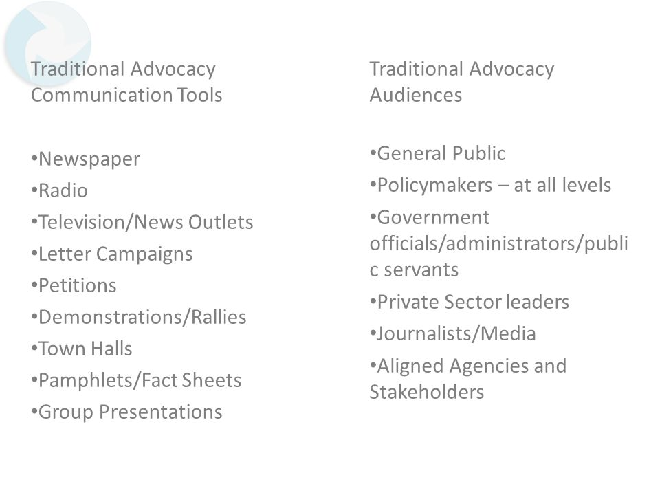 Traditional Advocacy Communication Tools Newspaper Radio Television/News Outlets Letter Campaigns Petitions Demonstrations/Rallies Town Halls Pamphlet