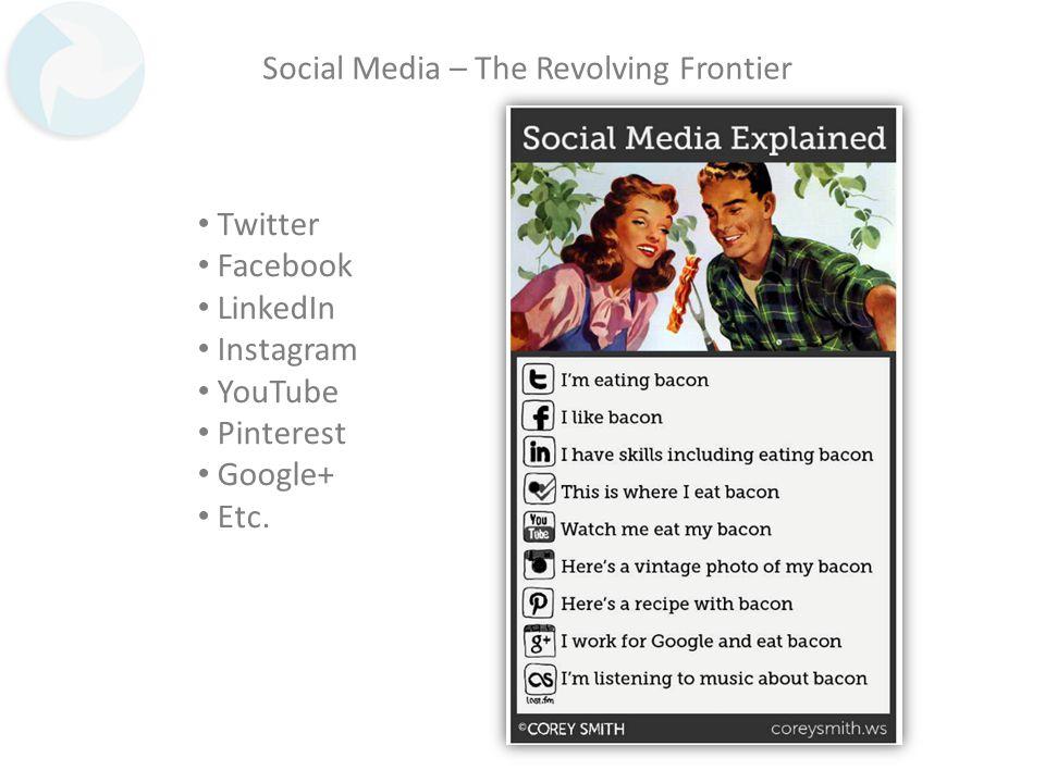 Social Media – The Revolving Frontier Twitter Facebook LinkedIn Instagram YouTube Pinterest Google+ Etc.